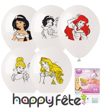 5 ballons à colorier princesses Disney