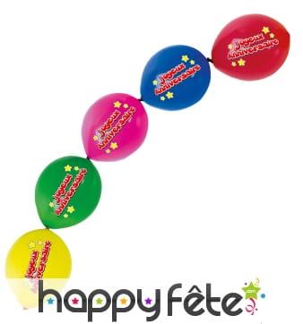5 Ballons à liens joyeux anniversaire, 30cm