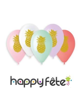 5 Ballons à motifs ananas dorés, 33cm
