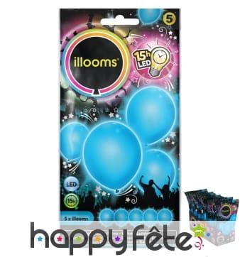 5 ballons bleus lumineux