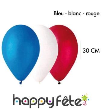 50 Ballons bleu-blanc-rouge, 30cm