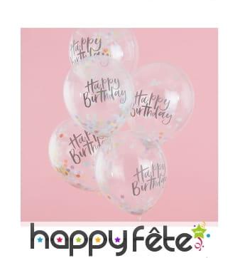 5 Ballons confettis Happy birthday transparents