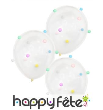 5 Ballons confettis transparents de 30cm