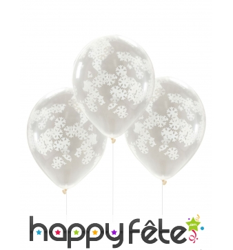 5 Ballons confettis transparents flocon de neige