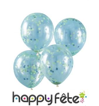 5 Ballons confettis verts transparents, 30cm