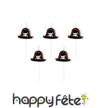 5 Bougies chapeaux de pirate de 2 cm, sur pic