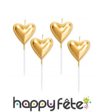 5 Bougies coeur dorée de 8 cm