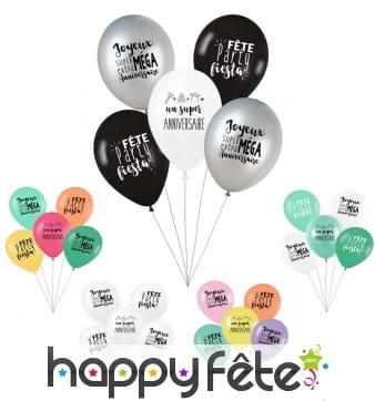 5 Ballons d'anniversaire Party fiesta