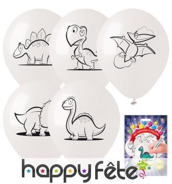 5 ballons Dino à colorier