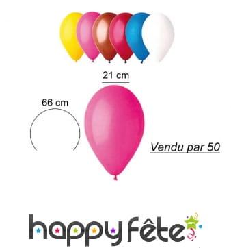 50 ballons de 21 cm en latex naturel