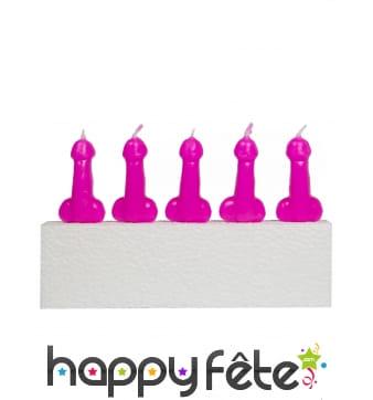 5 Bougies en forme de zizi rose, 14 cm