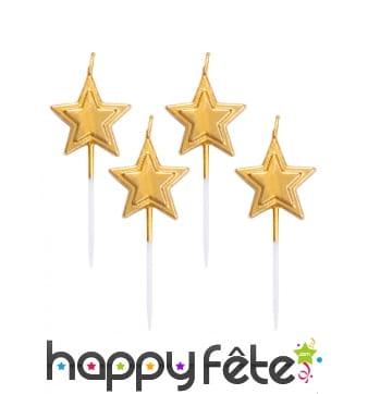 5 Bougies étoile dorée de 8 cm