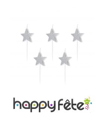 5 Bougies étoiles argentées à paillettes de 3,5 cm