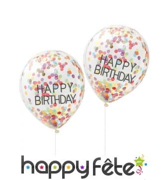 5 Ballons Happy birthday transparents confettis