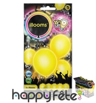 5 ballons jaunes lumineux