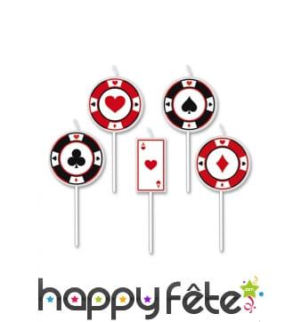 5 Bougies jetons de poker sur tige, 8cm