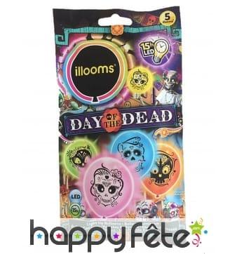 5 Ballons LED jour des morts, Illooms