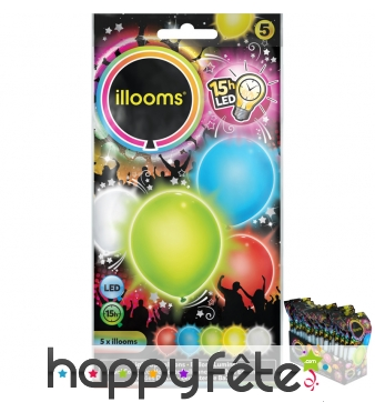 5 ballons lumineux multicolores