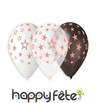5 Ballons métallisés motif étoiles, 30cm