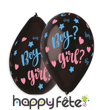 5 ballons noirs boy ou girl et confettis, 30cm