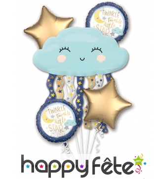 5 ballons rond étoile et nuage bleu heureux