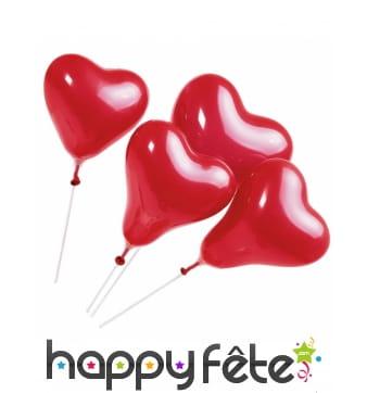 5 ballons rouges en forme de coeur sur tige, 20 cm