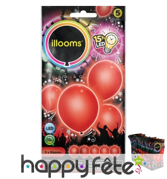 5 ballons rouges lumineux