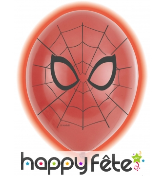5 Ballons Spiderman rouges lumineux de 28 cm