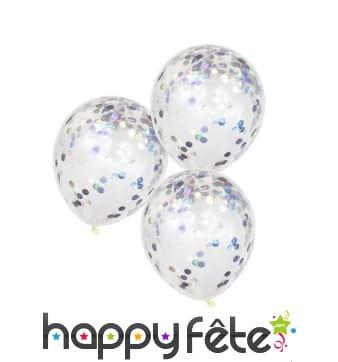 5 Ballons transparents avec confettis irisés