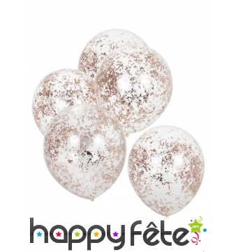 5 Ballons transparents avec confettis rose doré