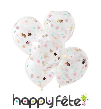 5 Ballons transparents imprimé confettis fleurs