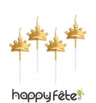 5 Bougies tiare dorée de 8 cm