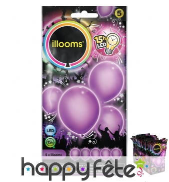 5 ballons violets lumineux