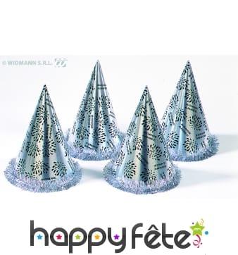 50 chapeaux coniques argent bonne année