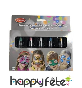 5 crayons maquillage effet brillant perlé de 2,8g