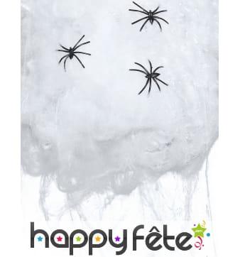 50g de toile d'araignée avec 3 araignées de 4cm