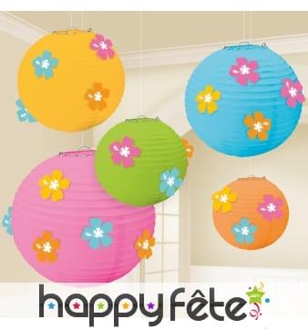 5 lanternes boules fleuries