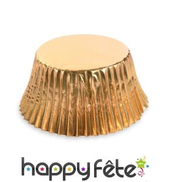 50 Moules dorés en papier pour cupcake, 7 cm