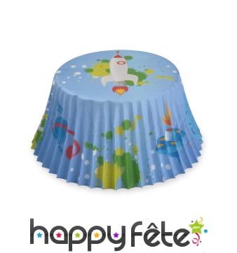 50 Moules fusée en papier pour cupcake, 7 cm