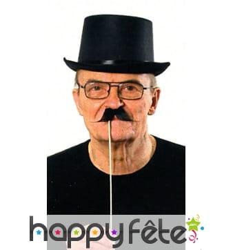 5 moustaches noires sur baton