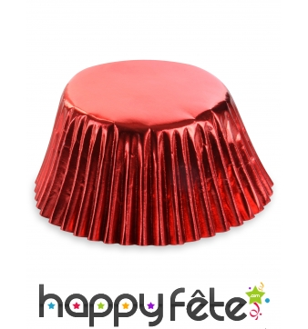 50 Moules rouges pour cupcake en papier de 7 cm
