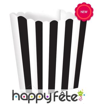 5 Pots à Popcorn blanc noir à rayures verticales