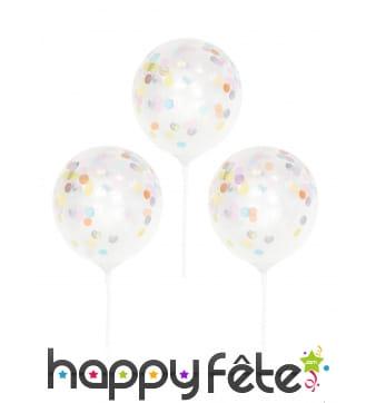 5 petits Ballons confettis transparents sur tige