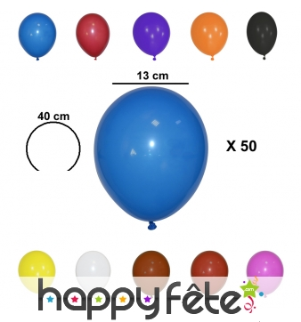 50 petits ballons de 13 cm de diamètre
