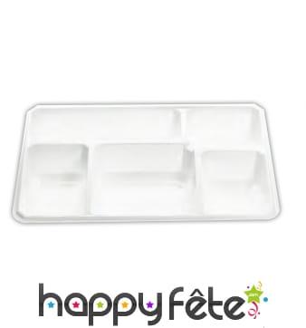 50 plateaux repas 5 compartiments blanc