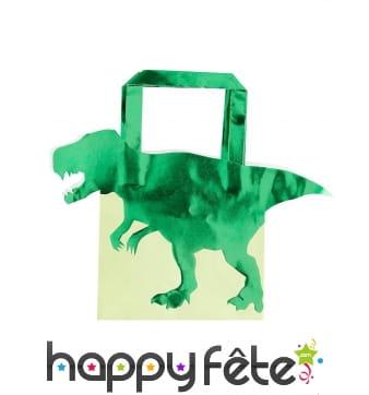 5 Sacs cadeaux T-rex vert en papier de 22,5 cm