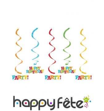5 Suspensions Happy Birthday de 64cm