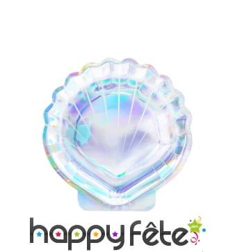 6 Assiettes coquillage holographiques en carton