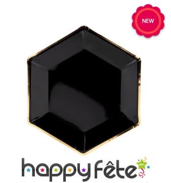 6 Assiettes noires avec bord doré 23cm hexagonales
