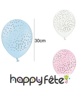 6 Ballons à pois de 30 cm en latex